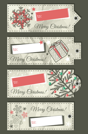crumple christmas labels with place for text, vector illustration Vector
