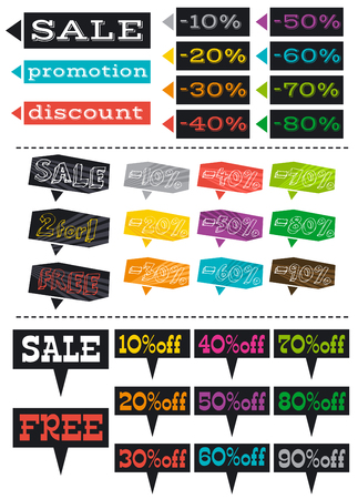 color labels with sale offer, vector illustration Vector
