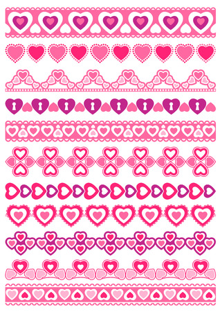 lace edges:  Set of Lace Paper with heart, vector illustration