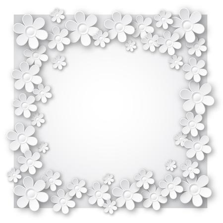 retratos: San Valent�n de fondo blanco con muchas flores, ilustraci�n vectorial Vectores
