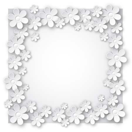 white valentine background with many flowers,  vector illustration