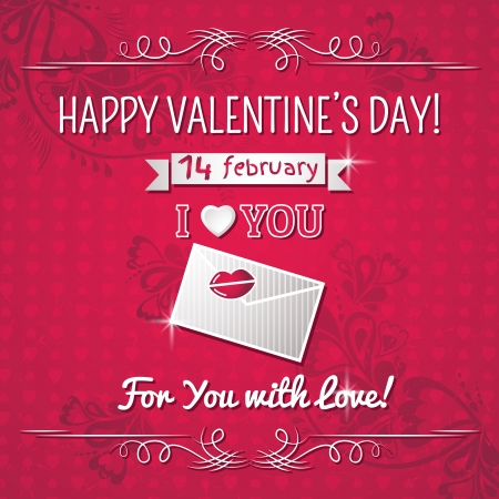 red background with valentine heart and wishes text,  vector illustration Vector