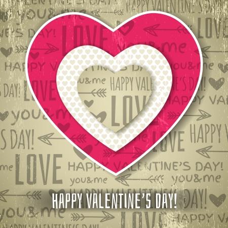 beige stof: beige achtergrond met rode valentine hart en wensen tekst, vector illustratie