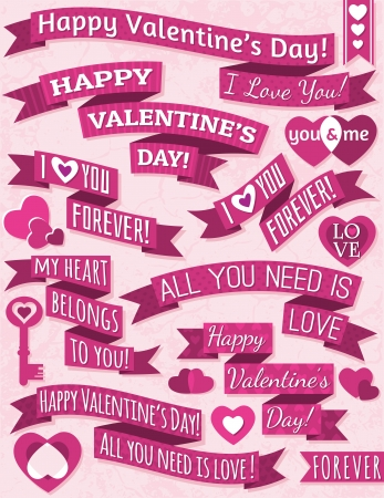 set of ribbon valentines design, vector illustration Vector