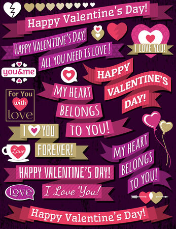 set of ribbon valentine's design, vector illustration Vector
