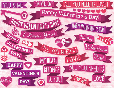 set of many ribbon valentines design, illustration Vector