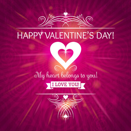 pink valentines day greeting card  with  hearts,  vector illustration Vector