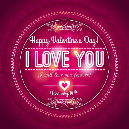red valentines day greeting card  with  hearts and wishes text,  vector illustration Vector