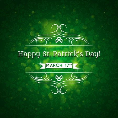 lustre: Card for St. Patricks Day with text and many shamrocks