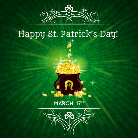 17th march: Card for St. Patricks Day with text and pot with golden coins Illustration