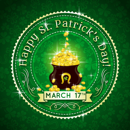 Card for St. Patricks Day with text and pot with golden coins Vector