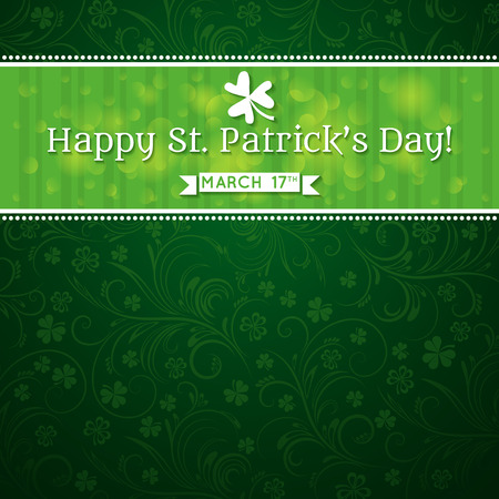 Card for St. Patricks Day with text and many shamrocks