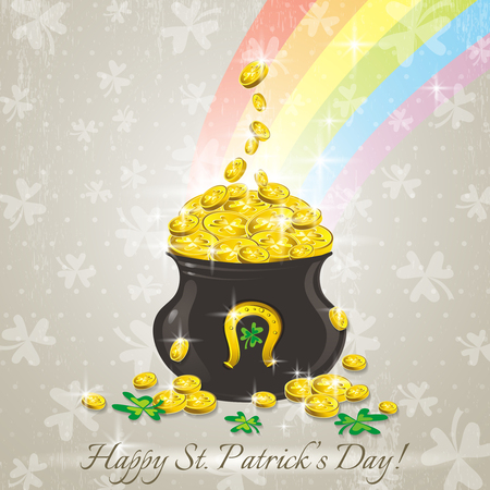 Card for St. Patricks Day with text and pot with golden coins Illustration