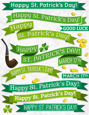 patrick's: Set of ribbon for St  Patrick s Day, vector illustration