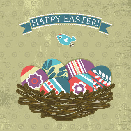 pasch: background with easter eggs, vector