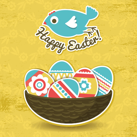 background with easter eggs and one bird, vector Vector