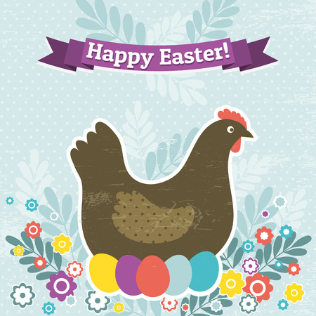 background with easter eggs and one hen, vector Vector