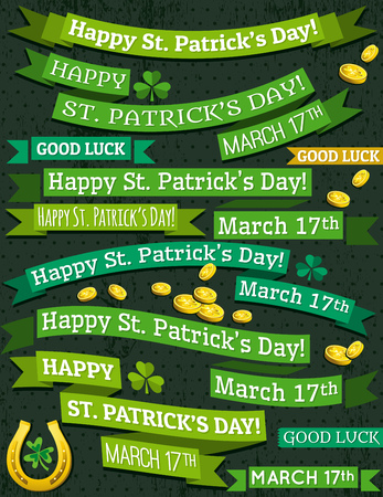 Set of ribbon for St. Patricks Day, vector illustration Vector