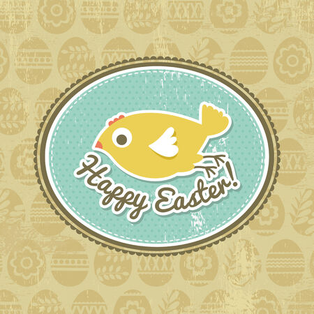 background with easter eggs and one chick, vector Vector