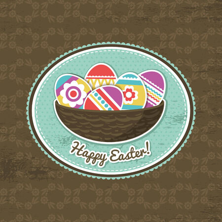 pasch: background with easter eggs and label, vector
