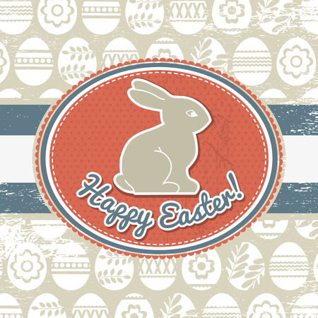 grunge background with easter eggs and rabbit  Vector