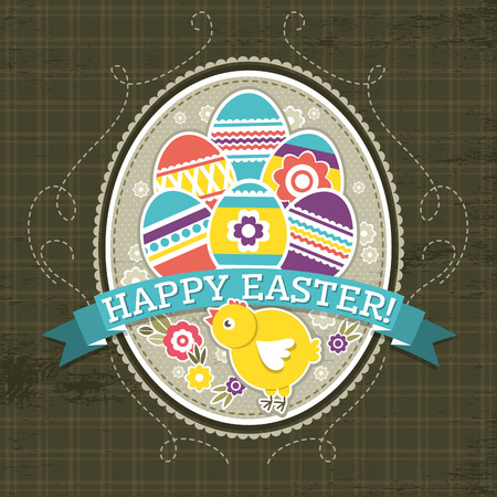 pasch: background with easter eggs and one chick, vector illustration
