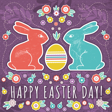 greetings card with easter eggs and two rabbits, vector