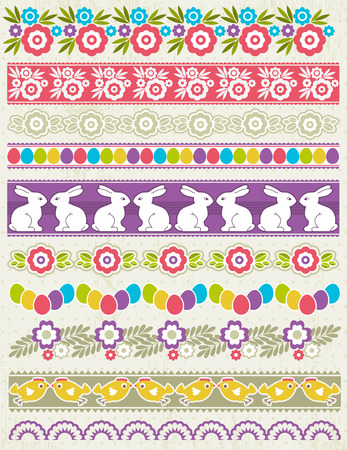 Set of Lace Paper with flower an easter eggs, vector illustration Vector