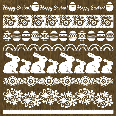 Set of Lace Paper with flower and easter eggs, vector illustration Vector