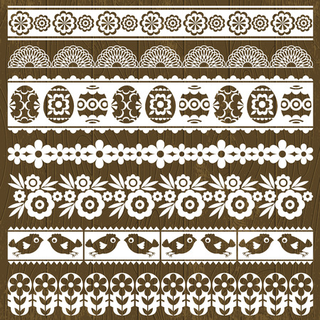 lace edges: Set of Lace Paper with flower and easter eggs, vector illustration