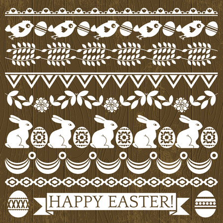 Set of Lace Paper with flower and easter eggs, vector Vector