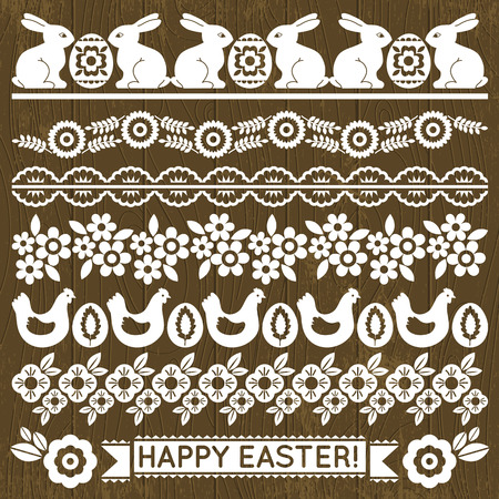Set of Lace Paper with flowers and easter eggs, vector illustration Vector