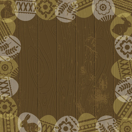 pasch: wooden background with frame of easter eggs, vector illustration
