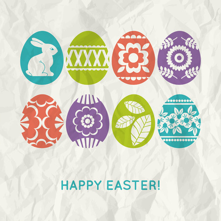 pasch: paper background with  colour easter eggs, vector illustration