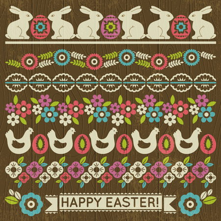 paper cut out: Set of Lace Paper with flower and easter eggs, vector