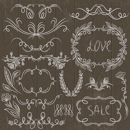 floral decorative borders, ornamental rules, dividers, vector Illustration