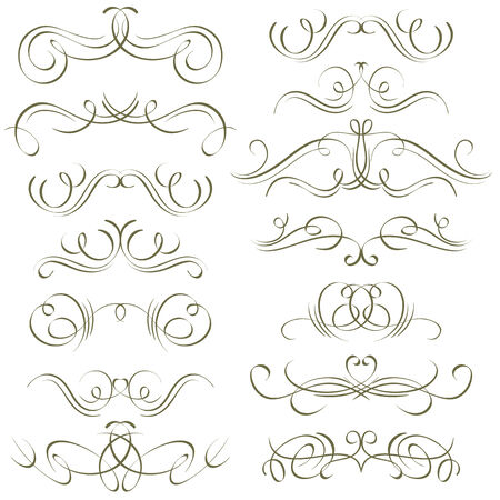 swashes: calligraphy decorative borders, ornamental rules, dividers, vector