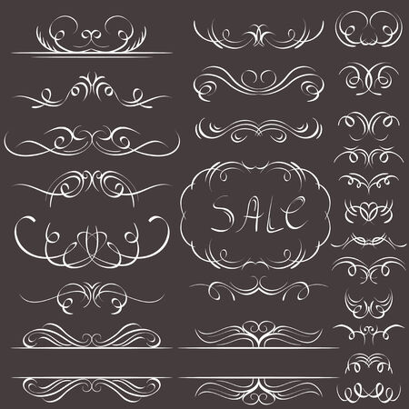 swashes: calligraphy decorative borders, ornamental rules, dividers Illustration