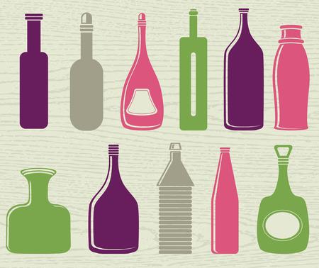 alcohol bottles: set of color bottle, vector