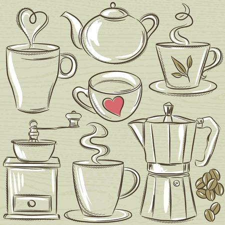 hot drink: set cup of hot drink, vector