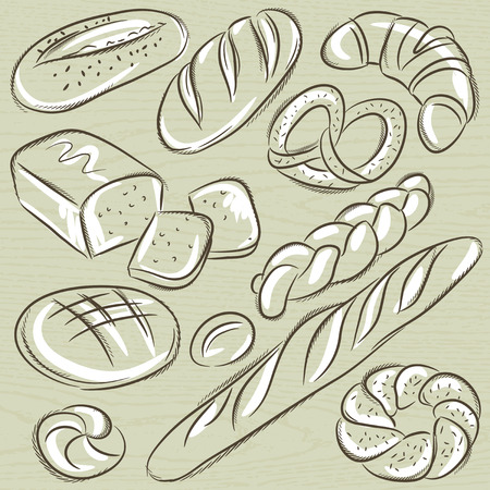 bap: set of different breads, vector Illustration