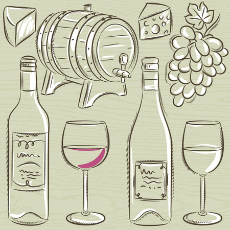 tun: set of glases and bottles for wine, vector