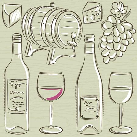 glases: set of glases and bottles for wine, vector