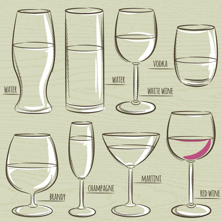 whine: set of different  glasses