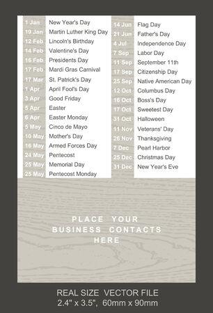 pocket size: pocket calendar with holidays list  SIZE: 2.4 x 3.5,  60mm x 90mm Illustration