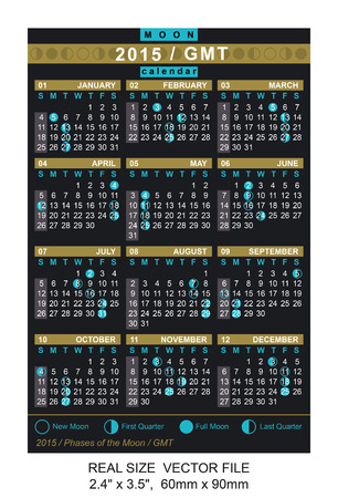 moon phases: vector calendar 2015 with Phases of the moon GMT REAL SIZE: 2.4 x 3.5,  60mm x 90mm