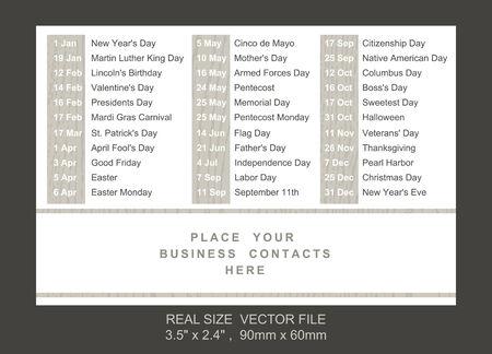 pocket calendar with holidays list SIZE: 2.4 x 3.5,  60mm x 90mm Vector