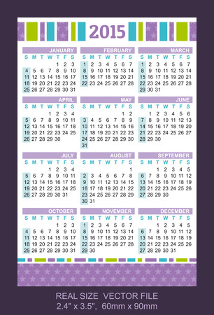 pocket calendar 2015, start on Sunday SIZE: 2.4 x 3.5,  60mm x 90mm Vector