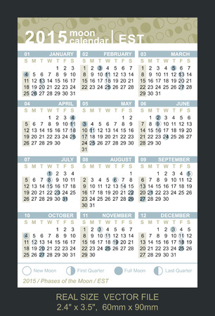 est: calendar 2015 with Phases of the moon  EST