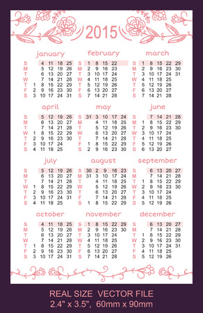 pink pocket calendar 2015  Vector